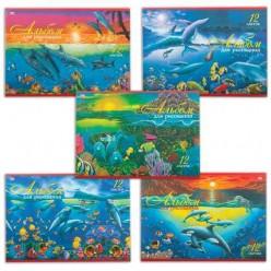 Альбом для рисования, 12 л., «Хатбер» (VK), обложка офсет, 100 г/м2, «Дельфины» (5 видов)