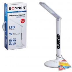 Светильник настольный SONNEN TL-LED-10W-27 на подставке, СВЕТОДИОДНЫЙ, 10 Вт, белый, часы, календарь, термометр