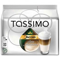 Капсулы для кофемашин TASSIMO JACOBS «Latte Macchiato», натуральный кофе 8 шт. х 8 г, молочные капсулы 8 шт. х 52 г