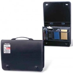 Портфель пластиковый BRAUBERG (БРАУБЕРГ) контракт, А4, 370-270-90 мм, 1 отделение, 2 накладных кармана, черный