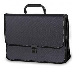 Портфель пластиковый BRAUBERG (БРАУБЕРГ) котракт, А4, 370-280-120 мм, 2 отделения, черный