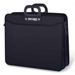 Портфель пластиковый BRAUBERG (БРАУБЕРГ) портфолио, А3, 470-380-130 мм, 3 отделения, на молнии, черный