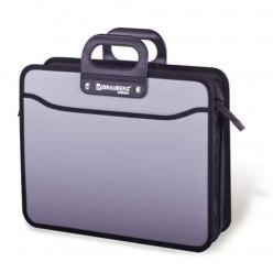 Портфель пластиковый BRAUBERG (БРАУБЕРГ) премьер, А4, 390-315-120 мм, 3 отделения, на молнии, серый