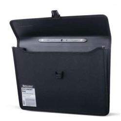 Портфель пластиковый BRAUBERG (БРАУБЕРГ), 390-260-100 мм, фактура под дерево, 2 отделения, черный