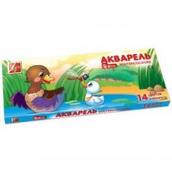 Краски акварельные ЛУЧ «Zoo», 14 цветов, медовые, картонная коробка, с кистью